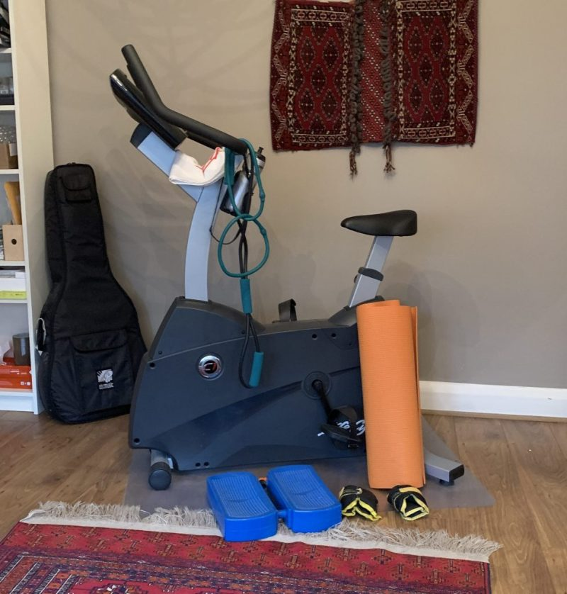 Pic of exercise equipment at home to help me make time to exercise