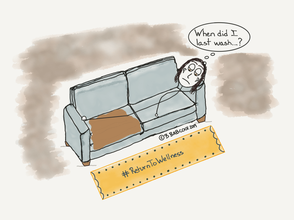 Picture of a girl lying on a sofa with one leg covered in a blanket. She is coping with a setback in recovery from illness. She is asking herself the question, 'When did I last wash?' There's a brownish-grey cloud around her to reflect that she hasn't washed in some time.