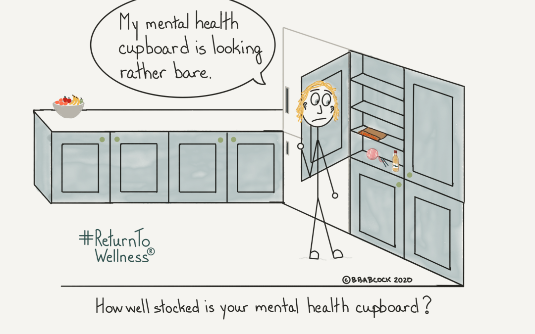 "A woman is in her kitchen. She has opened her mental health cupboard and there are only a few items in it. A book on cooking, some yarn for knitting and crochet and a bottle of something to drink. She is saying, ""My mental health cupboard is looking rather bare."" The caption reads: How well stocked is your mental health cupboard? Are you giving yourself five-a-day to improve your mental health?"