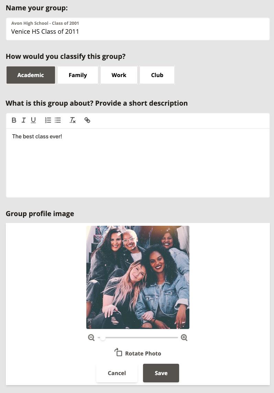 Class Reunion Group Creation