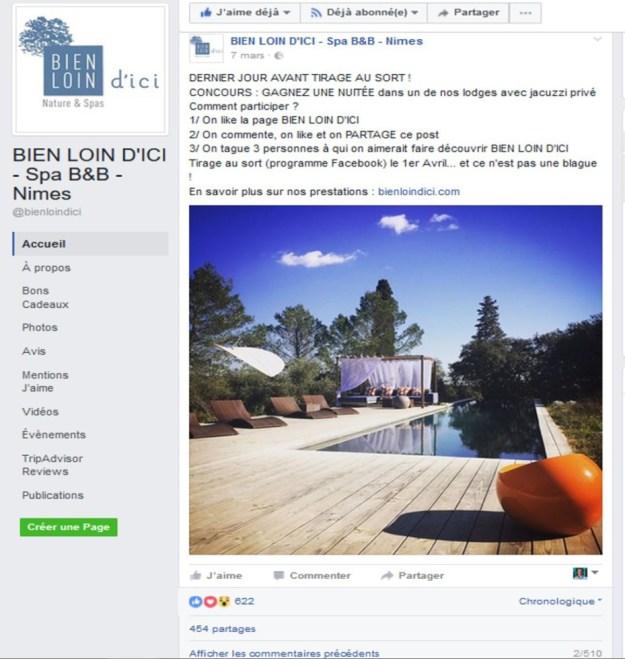 """Illustration jeu concours réussi effectué sur Facebook par les ecolodges de luxe """"Bien Loin d'Ici"""" à Nimes"""