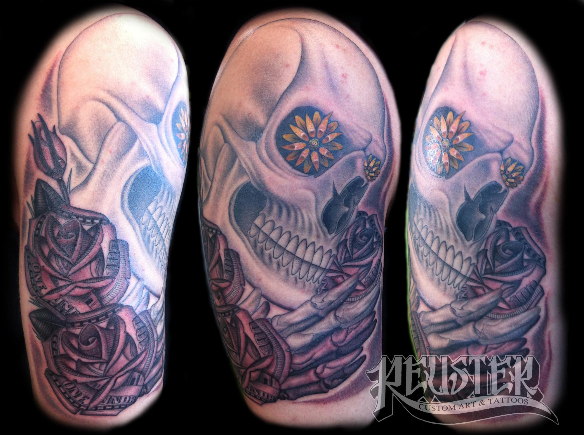 Hundred Dollar Bill Rose Tattoo