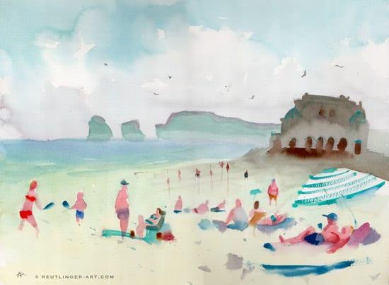 aquarelle-plage_casino-31x41-hendaye-mai
