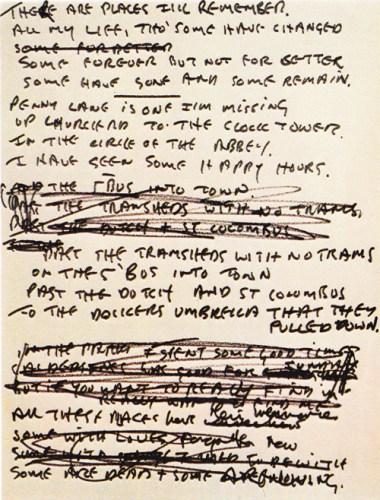 "John's handwritten original lyrics for ""In My Life."""