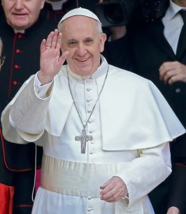 Newly elected Pope Francis, Cardinal Jorge Mario Bergoglio of Argentina waves as he leaves after praying at basilica in Rome
