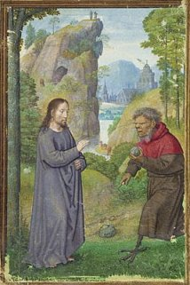 Flemish painter Simon Bening depicts the first of Jesus' three temptations.