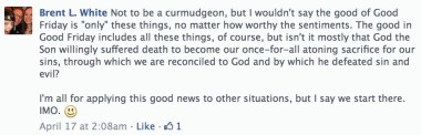 My response to this pastor's Facebook post.