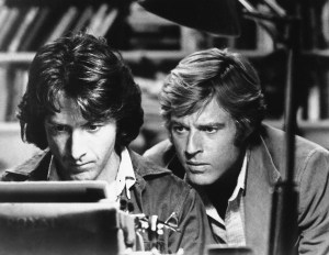 """Dustin Hoffman (left) and Robert Redford star as Carl Bernstein and Bob Woodward, respectively, in """"All the President's Men."""""""