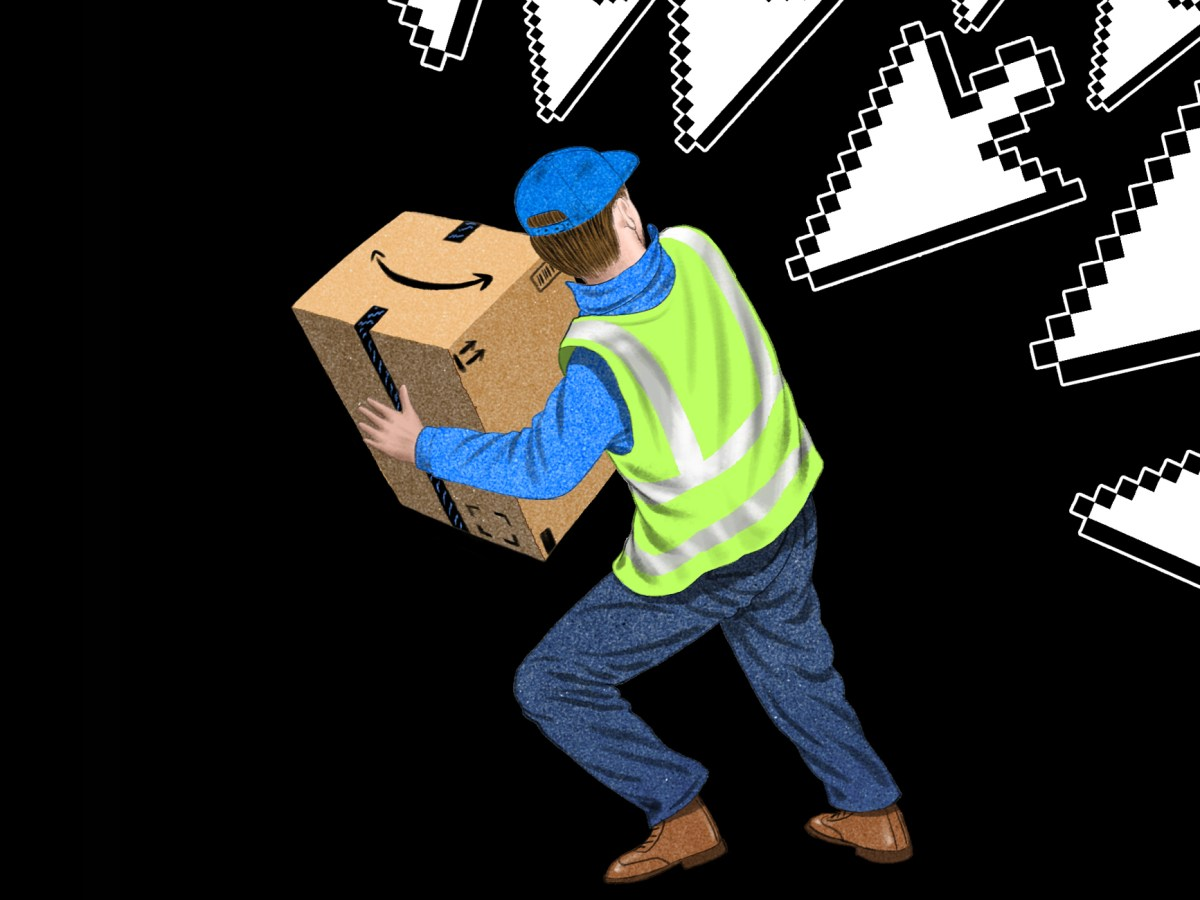 A warehouse worker is surrounded by menacing cursor arrows