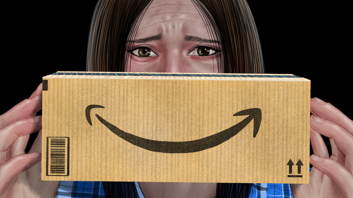 A woman looks worried as she holds a box in front of her face