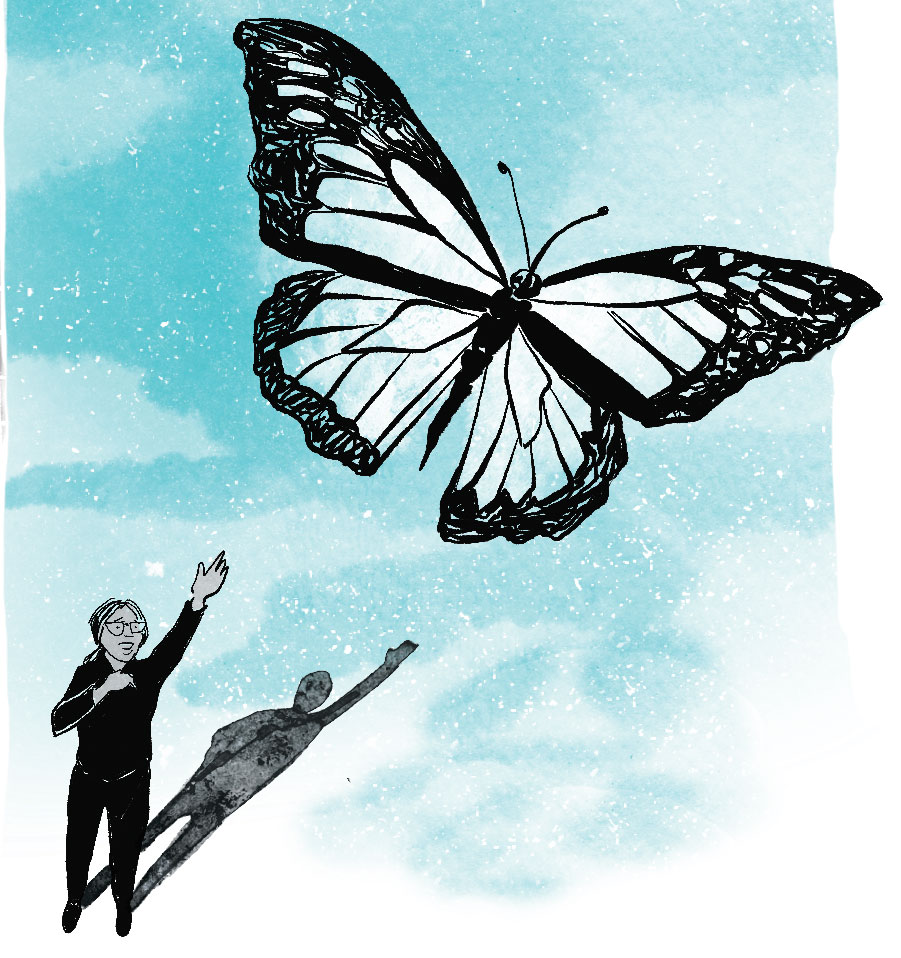 Against a blue background, a woman reaches out to a butterfly that's flying away.