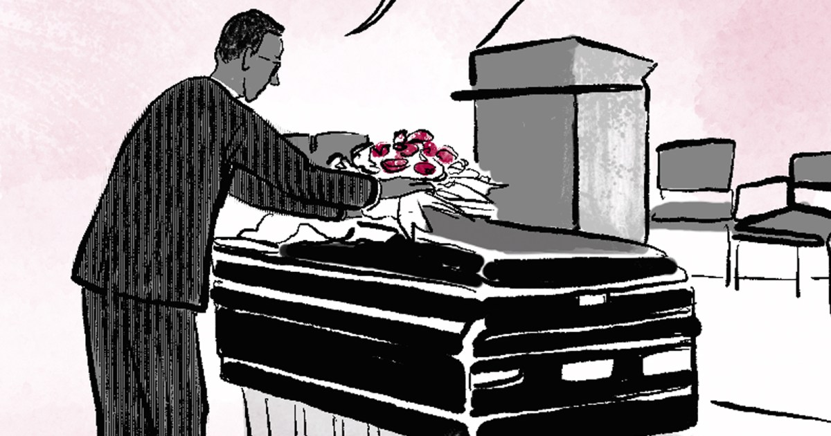 A detail of a drawing shows funeral director, Douglas, placing roses on a casket.