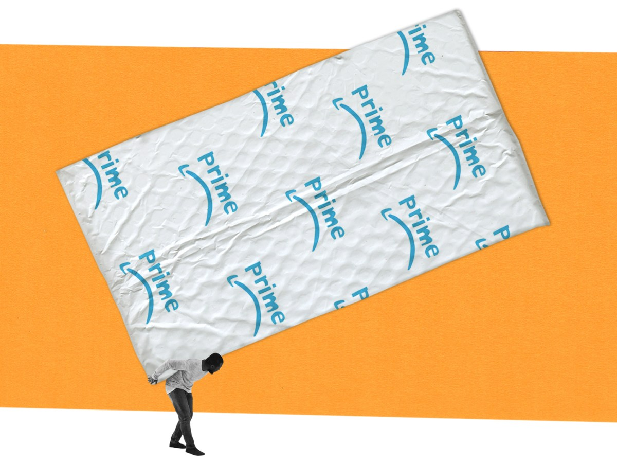 "In an illustration, a man precariously balances an extremely oversized shipping envelope on his back. The envelope has a logo that says ""prime,"" with a downturned arrow underneath the word."