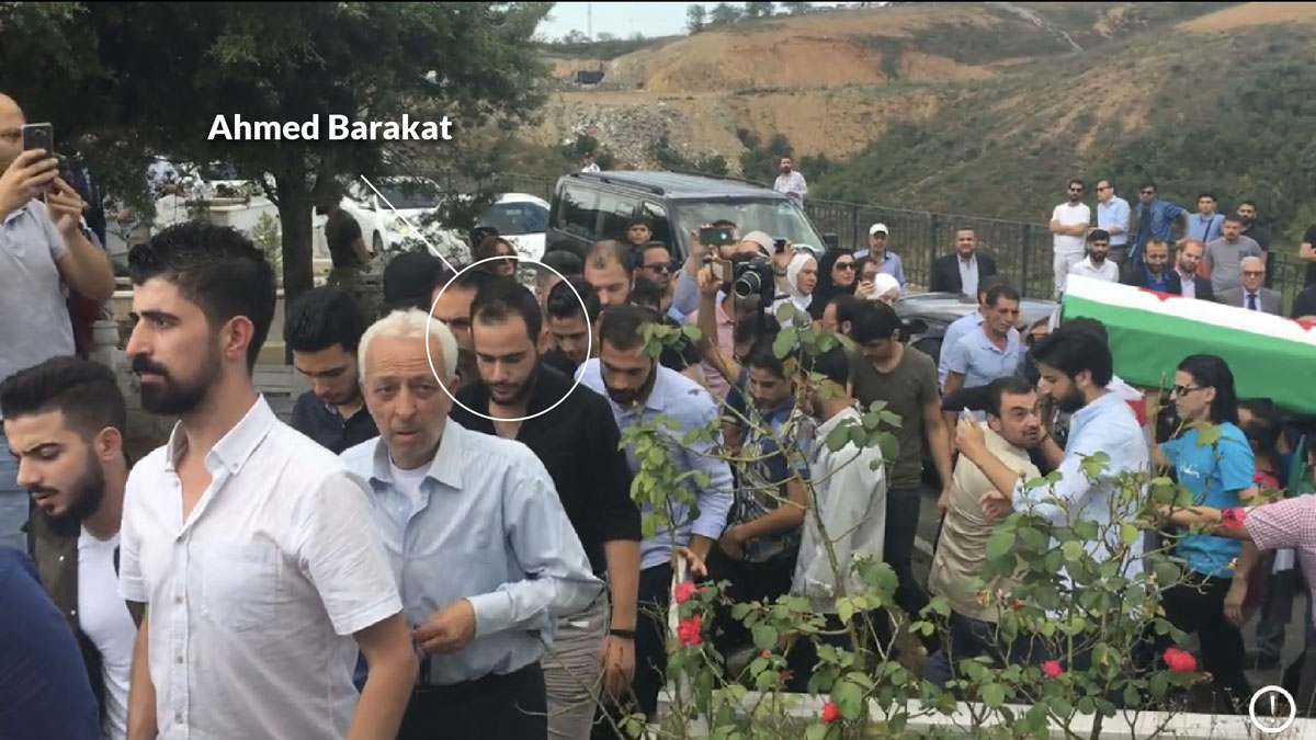 A graphic circle and name label highlight Ahmed Barakat among several dozen people.