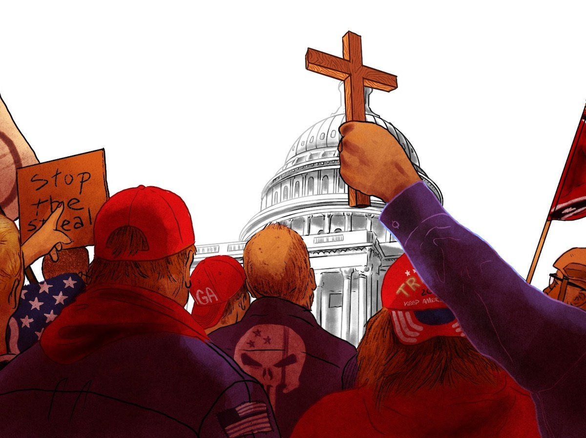 "An illustration shows a group of people from behind facing the U.S. Capitol. Among them are people holding up a cross, a Confederate flag and a sign that reads, ""Stop the steal."""