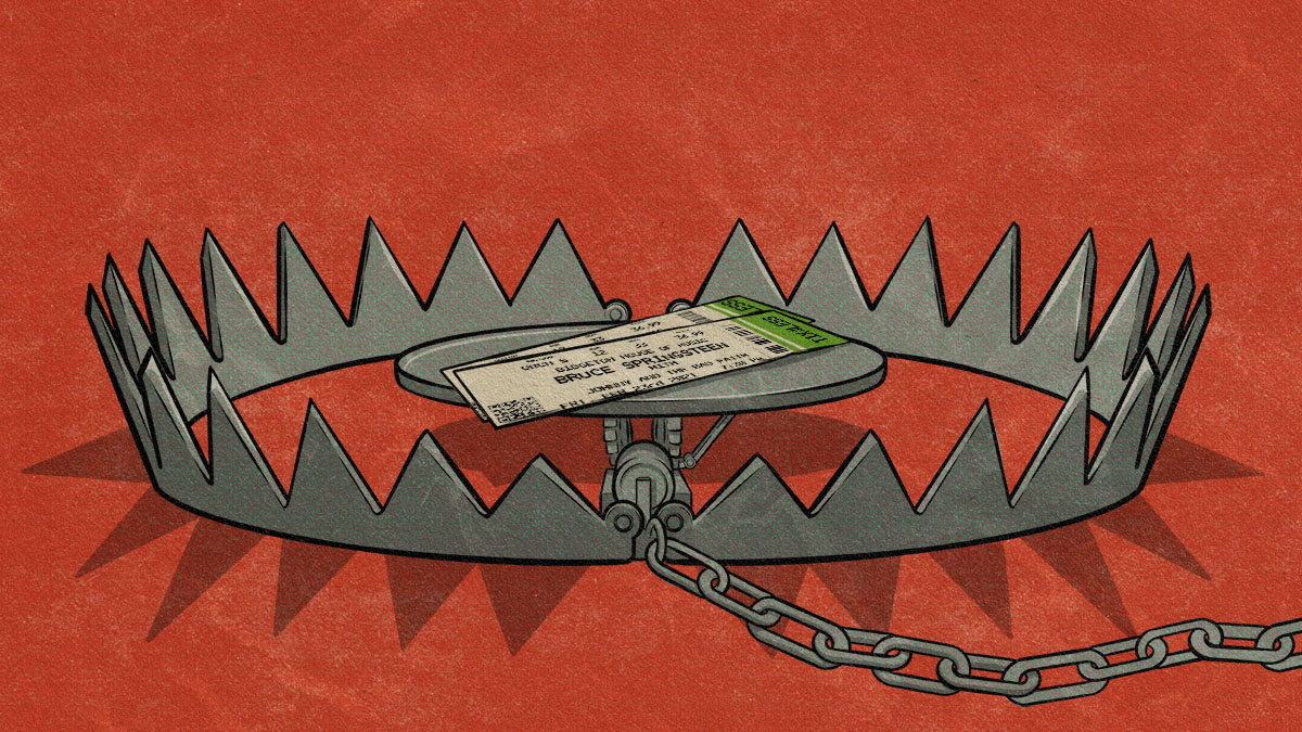 An illustration shows a pair of Bruce Springsteen tickets in a bear trap, against a red background.