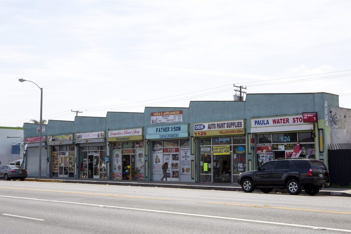 A strip of small businesses line a street in South Central LA.