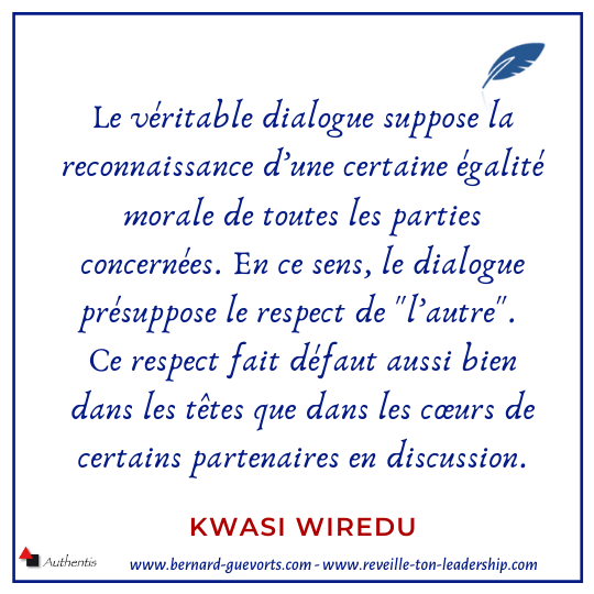 Citation de Kwasi Wiredu sur le respect dans le dialogue