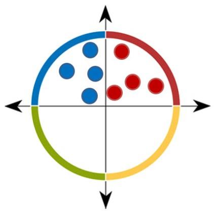 Exemple fictif de CODIR rouge et bleu dominant