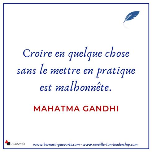 Citation sur la mise en pratique de Gandhi
