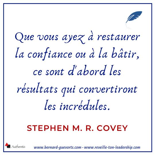 Citation sur la confiance et les résultats de Stephen M R Covey