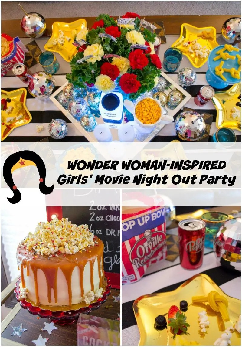 wonder woman inspired girls movie night out party revel and glitter