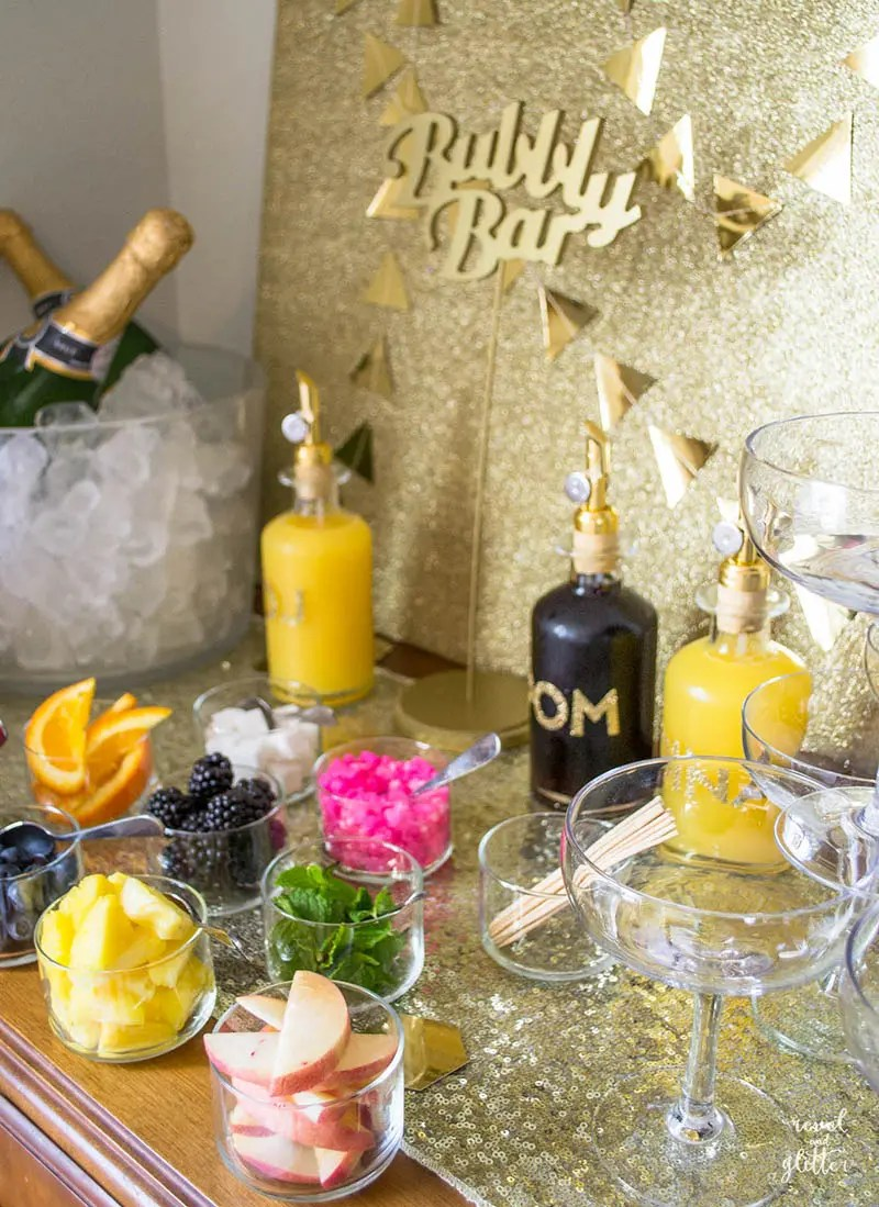 how to host a bridal shower mimosa bar side view
