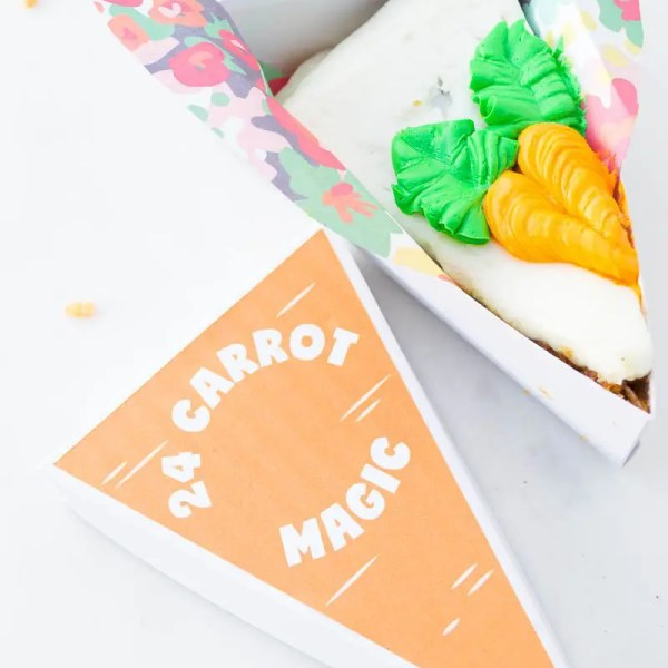 perfect for dressing up pie slice boxes for easter carrot label is a free download