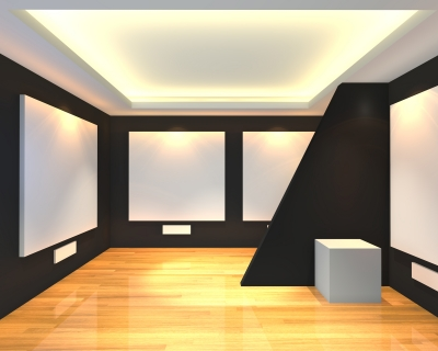 Empty Room Black Gallery Stock Photo