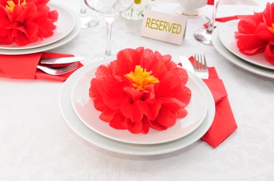 Tableware Decoration Paper Towels In The Form Of A Flower Stock Photo