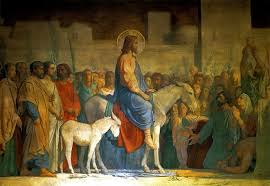 Jesus on donkey in Jerusalem