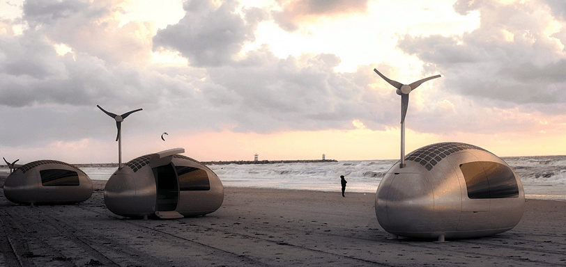 Solar, Wind, Powered Egg-scape Pod for Outdoor Freedom