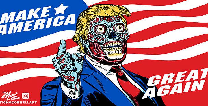 """They Live"" Trump Billboard in Mexico"
