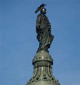 The goddess on the top of the capital is the goddess of war