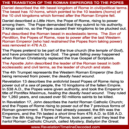 Revelation transition from Roman Emperors to the Popes of Rome