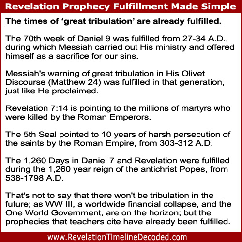 This Revelation Timeline Decoded Bible study shows how the prophecies about times of 'great tribulation' have already been fulfilled.