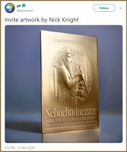 Kanye West Plots 'Nebuchadnezzar' Opera at Hollywood Bowl, pointing to King Nebuchadnezzar of Babylon.