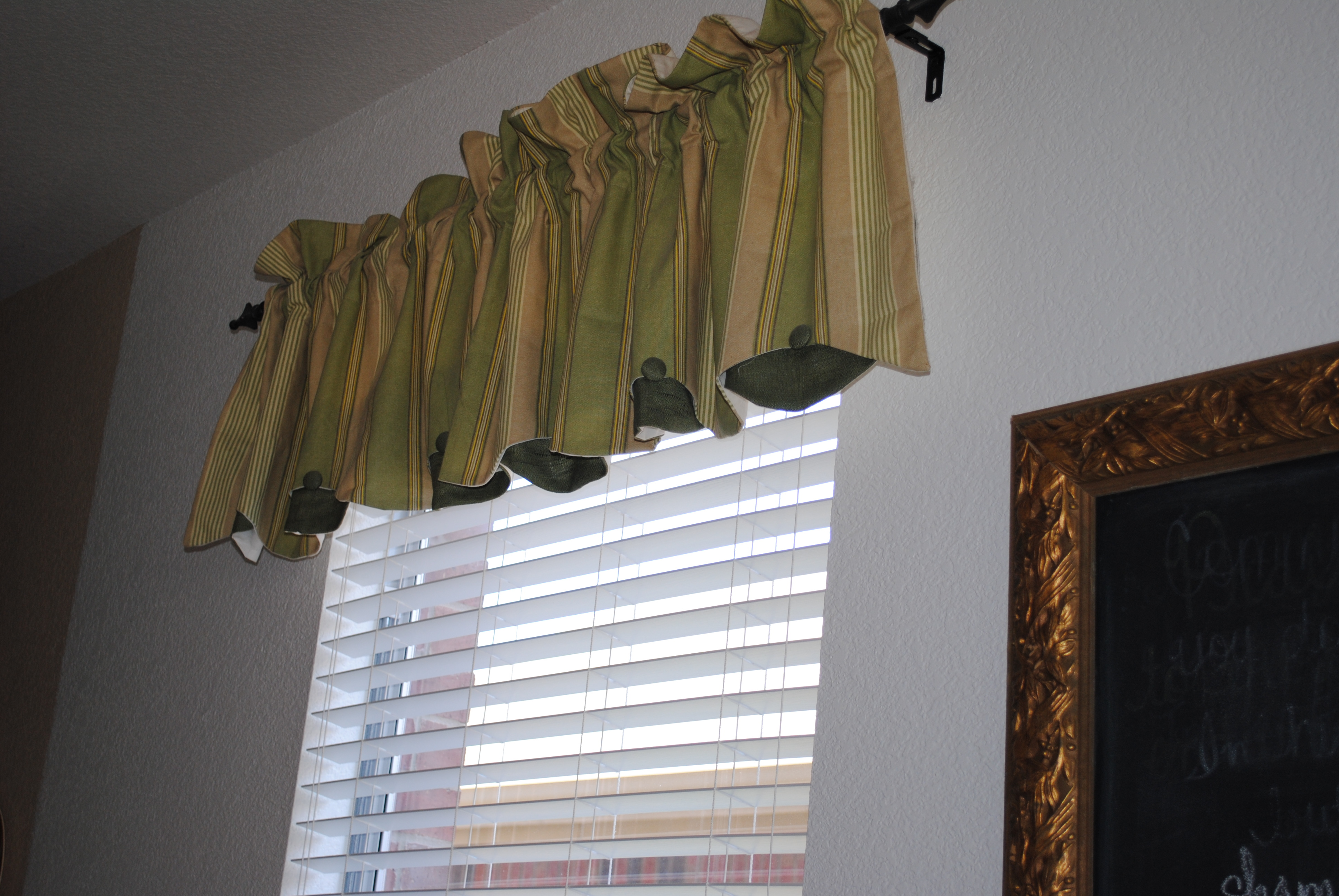 Breakfast Nook Redo Stamped Burlap Curtains