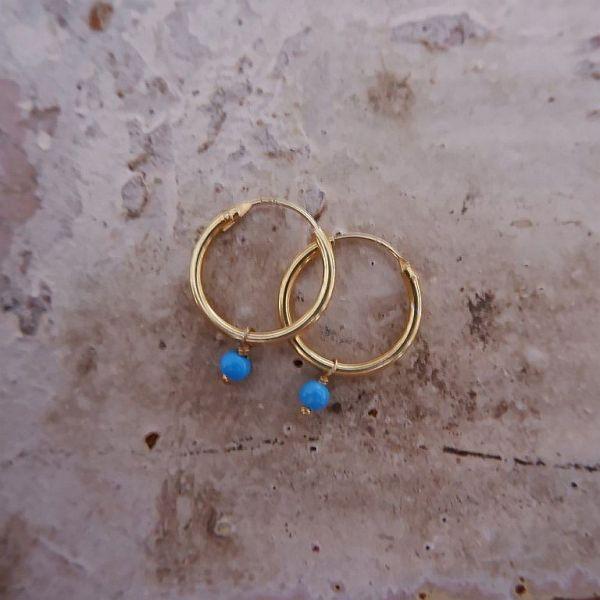 Gold plated oorbellen met Turkoois