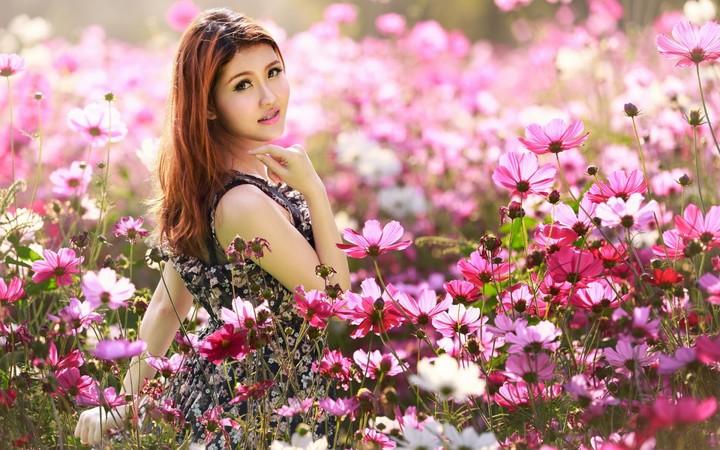 Wallpaper Girl Happy Asian Girl In Flower Field Wallpaper By Marksteele