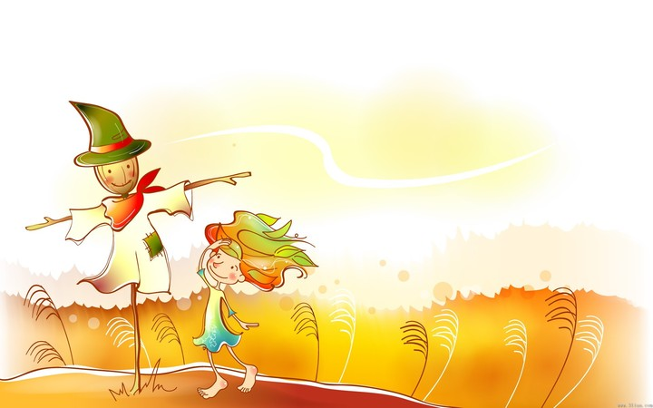 Fall Desktiop Wallpaper Autumn Kid Scarecrow Funny Painting Background Pc