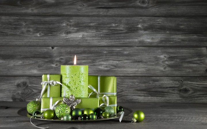 Christmas Gifts and green Candles on wooden background wallpaper by ThorMark  RevelWallpapersnet