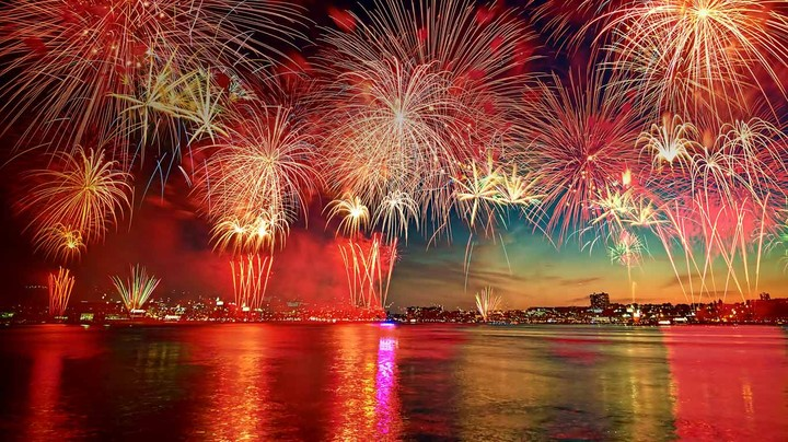Display of fireworks in New York City as seen over the