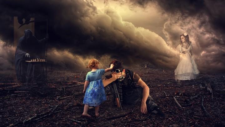 Warrior Girl Wallpaper Soldier And Baby Girl In Grim Reaper Fantasy World
