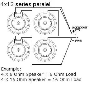 EarCandy 4x10 4x12 guitar amp speaker cab Wiring Harness 4, 8 or 16 ohm series parallel No
