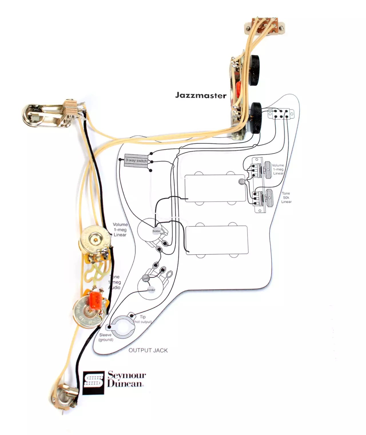 fender squier jaguar wiring diagram single phase capacitor start induction motor connection vintage traditional jazzmaster guitar pre wired
