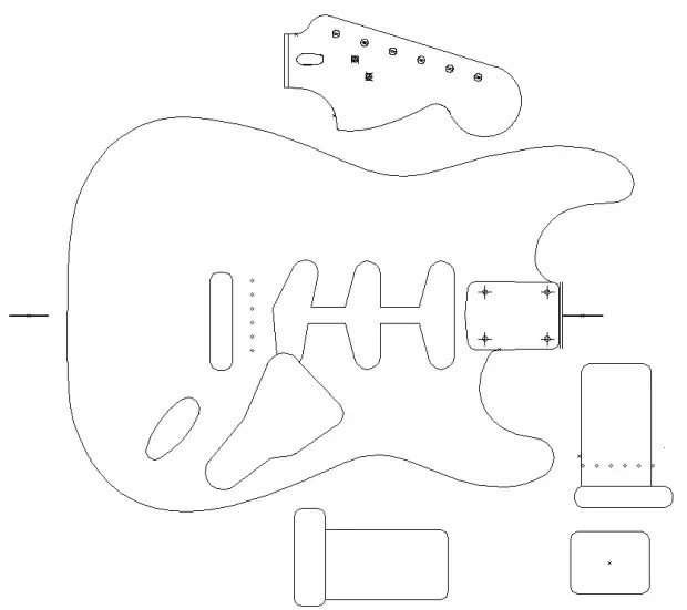 Fender Stratocaster 1960 template. Vinyl guitar making