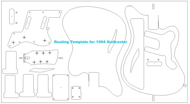Charvel Surfcaster routing template. Vinyl routing guides