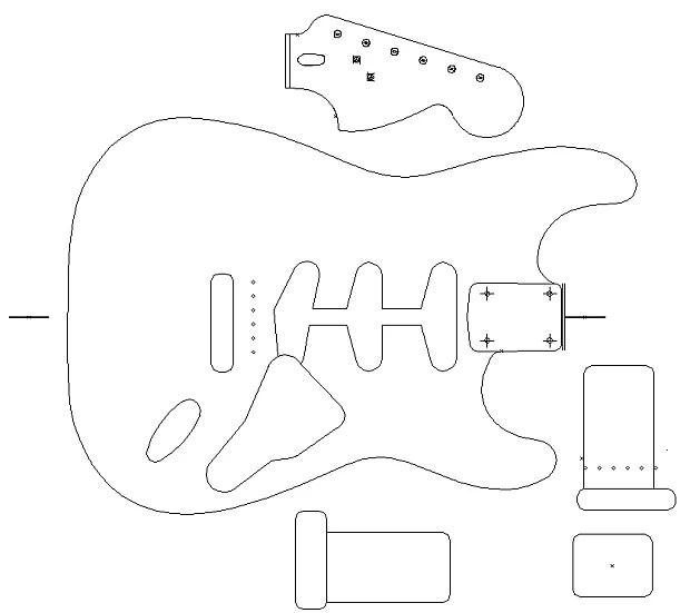 Fender Stratocaster 1960 template. Vinyl guitar making