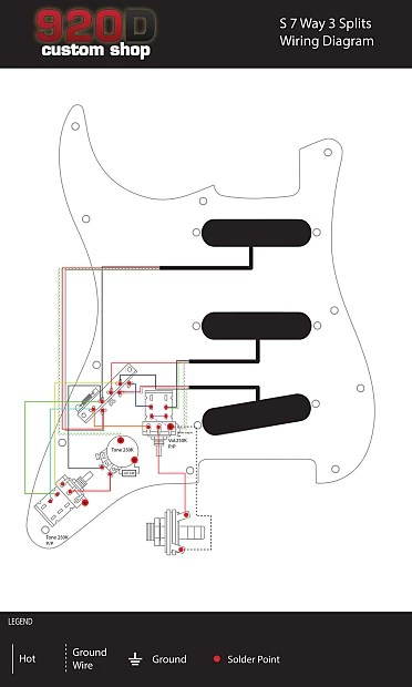 Fender Strat Stratocaster 7 Way Wiring Harness Push-Pull